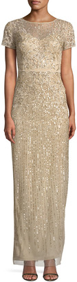 Aidan Mattox Short-Sleeve Sequin-Striped Evening Gown