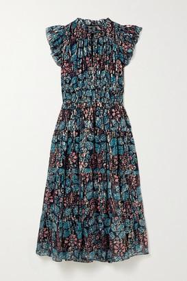 Ulla Johnson Renata Ruffled Printed Fil Coupe Silk-blend Georgette Midi Dress - Blue
