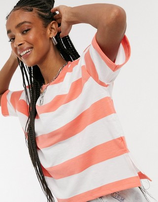 ASOS DESIGN boxy cropped t-shirt with chunky stripe in orange and white