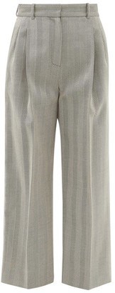 Racil Robert High-rise Pleated Wool Herringbone Trousers - Grey