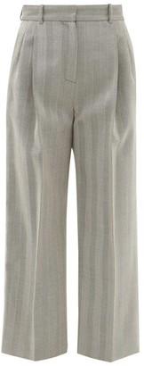 Racil Robert High-rise Pleated Wool Herringbone Trousers - Womens - Grey