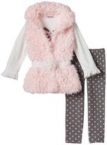 Little Lass Toddler Girl Faux-Fur Vest, Butterfly Tee & Leggings Set