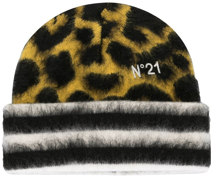 No.21 Leopard-Patterned Beanie