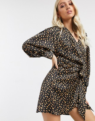 ASOS DESIGN satin drape wrap front mini dress in polka dot