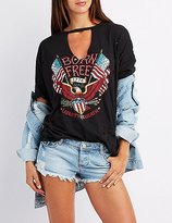 Charlotte Russe Destroyed Born Free Graphic Tee