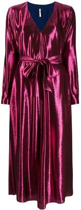 Indress Metallic Tie Waist Midi Dress