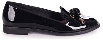 Linzi CLARICE - Black Patent Loafer With Front Knot Detail And Studded Trim