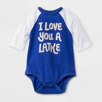 "Cat & Jack Baby ""I Love You A Latke"" Raglan Sleeve Bodysuit - Cat & JackTM Blue"
