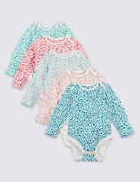 Marks and Spencer 5 Pack Pure Cotton Ditsy Floral Print Bodysuits