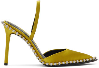 Alexander Wang Yellow Satin Rina Crystal Heels