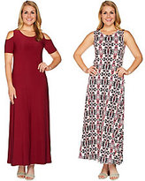 As Is Attitudes by Renee Petite Sld & Prntd Set of Two Dresses