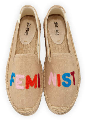 Soludos Feminist Embroidered Espadrilles Smoking Slippers