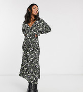 Asos DESIGN Petite long sleeve ditsy print smock dress with buttons and frill