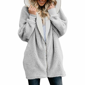 Fentinaya Women's Oversized Full Zip Up Sherpa Hoodie Fleece Jacket with Pockets Gray