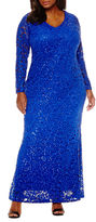 BLUE SAGE Blu Sage Long-Sleeve Lace Sequin Gown - Plus