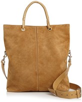 Halston Ali Fold Over Large Suede Tote