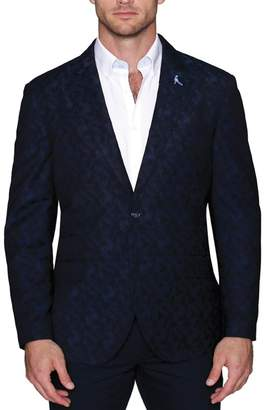 Tailorbyrd Blue Camo Print Two Button Notch Lapel Modern Fit Sport Coat