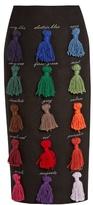 Stella Jean Sapere tassel-appliqué wool-blend skirt