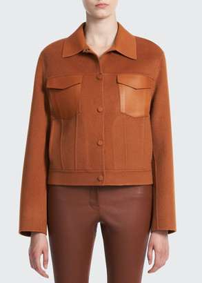 Theory Wool-Cashmere Trucker Jacket with Leather Trim