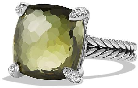 David Yurman Ch'telaine Ring with Green Orchid and Diamonds