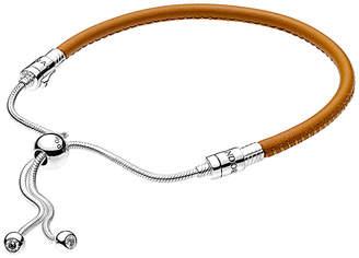 Pandora Charm Carrier Moments Silver Cz & Leather Slider Bracelet
