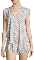 Eberjey Strappy Lace-Trim Camisole, Pearl Pink/Gray