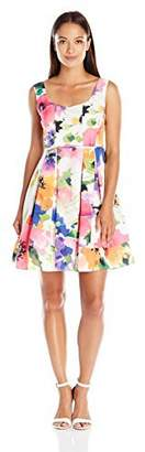 Adrianna Papell Women's Petite Fit-and-Flare Floral Dress with Pleated Skirt