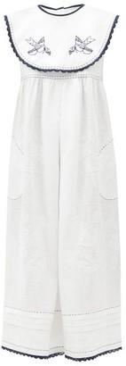 Vita Kin Heavenly Swallows Embroidered Linen Dress - White Navy