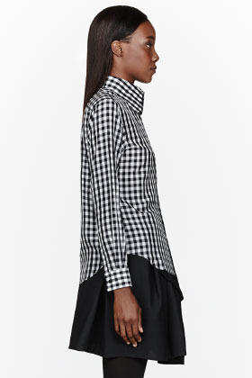 Comme des Garcons Black & white curved collar gingham check Blouse