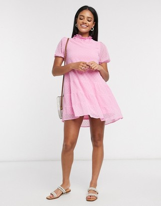 Influence dobby mesh tiered mini dress in pink