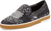 Jimmy Choo Grove Men's Frayed-Denim Slip-On Sneaker, Black