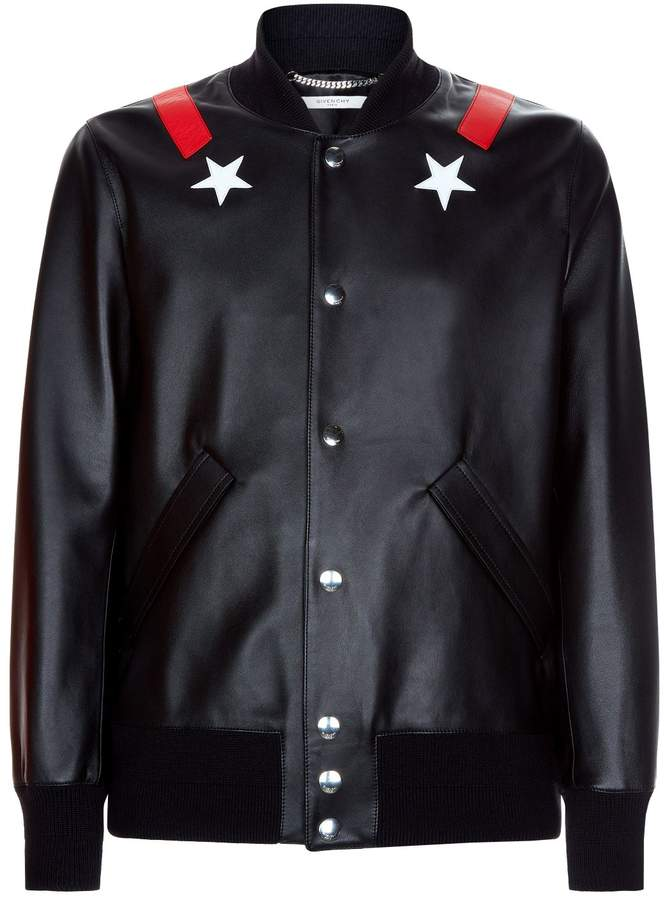 Givenchy Star Applique Leather Jacket