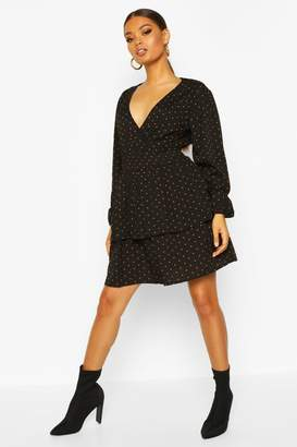 boohoo Polka Dot Tiered Skirt Skater Dress