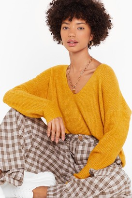 Nasty Gal Womens Now You V It Knitted V-Neck Jumper - Yellow - One Size