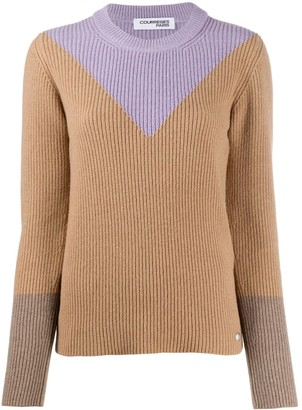 Courreges Ribbed Knit Colour-Block Jumper