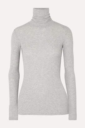 ATM Anthony Thomas Melillo Ribbed Melange Stretch-micro Modal Turtleneck Top - Gray