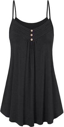 Toamen Summer T Shirt Clearance! Toamen Women's Summer Vest - V Neck - Button - Loose Sleeveless Cami Tank Tops Blouse (Black UK 14)