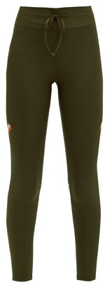 The Upside Freedom Embroidered Stretch-jersey Leggings - Dark Green