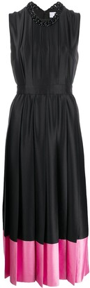 MSGM Contrast-Hem Pleated Satin Dress