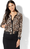 New York & Co. 7th Avenue - Faux-Leather Trim Bomber Jacket - Leopard Print
