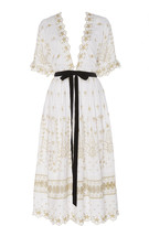 LoveShackFancy Augusta Embroidered Poplin Midi Dress