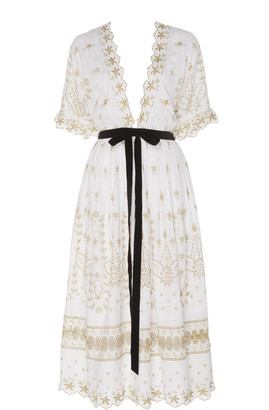LoveShackFancy Augusta Embroidered Poplin Midi Dress