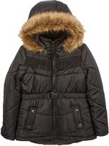 KC Collections Black Fringe Hooded Puffer Coat - Girls