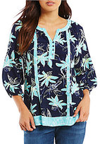 Westbound Petite Floral & Botanical Peasant Top