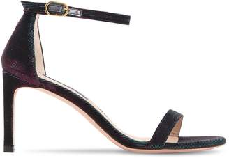 Stuart Weitzman 60mm Nudist Glittered Fabric Sandals