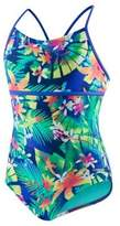 Speedo Girl's One-Piece Tropical Print Strappy Swimsuit