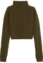 Vivienne Westwood Mud Cropped Twill-Paneled Cable-Knit Wool-Blend Sweater