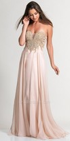 Dave and Johnny Strapless Pearl Embellished Chiffon Prom Dress