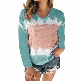 Yczx Women's Casual Long Sleeve T-Shirt Tops Round Neck Printed Lightweight Sweatshirts Elegant Blouse Tunic Top Casual Daily Wear Fashion Comfy Loose T-Shirt XXL