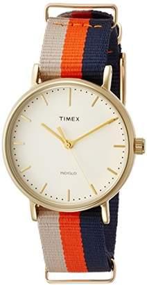 Timex Women's TW2P91600 Fairfield 37 Stripe Nylon Slip-Thru Strap Watch